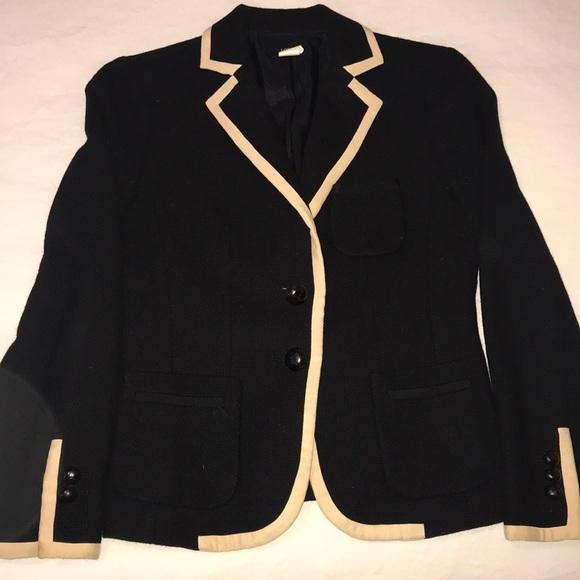 J. Crew Jackets & Blazers - Jcrew black wool blazer with cream piping